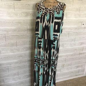 Travel knit patterned maxi sundress
